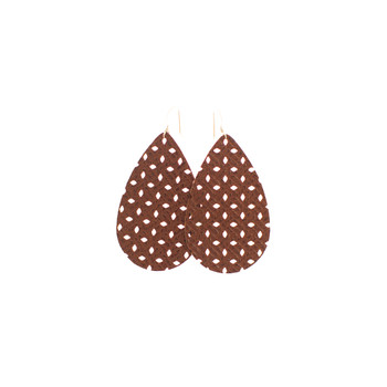 Brown Woven Leather Earrings