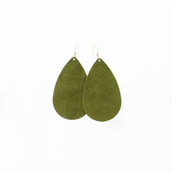 Olive Suede Leather Earrings