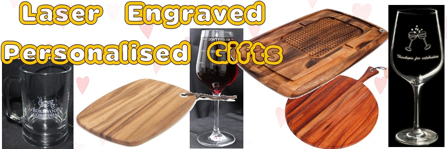 personalised laser engraved glassware and laser engraved wooden items