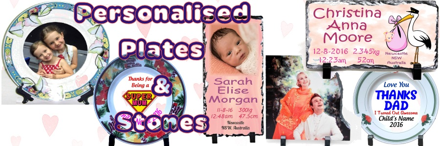 Personalised Plates, Personalised stone ornaments, personalised mugs and cups