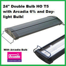 "24"" HO T5 Double Bulb fixture with Arcadia 6% and 6.5k Day-light Bulbs Included"