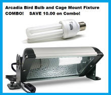 Arcadia Bird Cage Fixture with Bulb COMBO - Exclusive USA USE Kit.