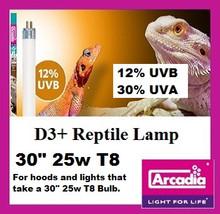 """Arcadia T8 12% D3+ Reptile Lamp 30"""" 25 watt **New ODD size for Exo Terra Hoods"""