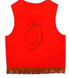 Red Adventure Guide YMCA Vest with Fringe and Tie