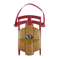 Wing Wheel and Flag Sled Ornament