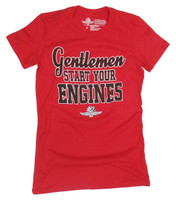 Ladies Wing Wheel and Flag Gentlemen Start Your Engines Tee