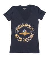 Ladies Wing Wheel and Flag V-Neck Slub