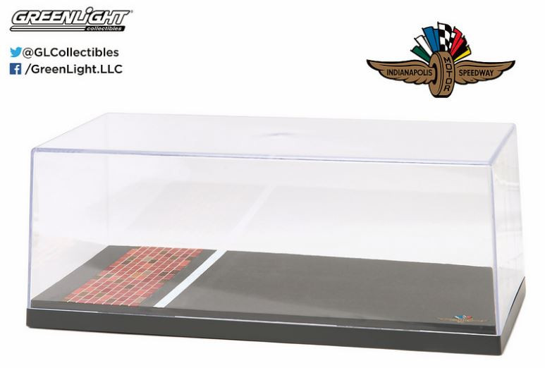 Acrylic Case for a 1/18 die cast which features the Wing Wheel and Flag logo along with the famous yard of bricks.