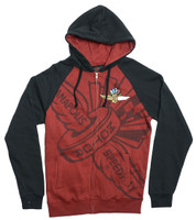 Wing Wheel and Flag Full Zip Sweatshirt Hoodie