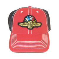Wing Wheel and Flag Red Chasis Cap