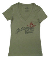 Ladies Wing Wheel and Flag Monument V-Neck Tee