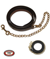 "Tory Leather Lead with 24"" Chain, Havana or Black"
