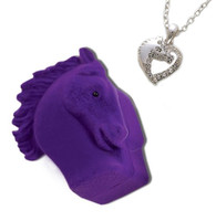 Horse Heart Necklace with White Stones in Horse Head Gift Box