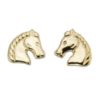 Gold Regal Horse Head Earrings