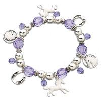 Bead & Enamel Horse Charm Bracelet, Purple