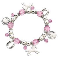 Bead & Enamel Horse Charm Bracelet, Pink