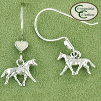 Sterling Silver Horse and Heart Earrinigs