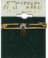 Gold Blue Ribbon Stock Pin