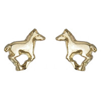 Gold Running Pony Earrings