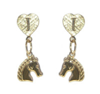Gold I Love Horses Dangle Earrings with Horse Head