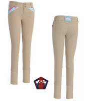Equine Couture Bindia Breeches, Angel Blue, Size 16 Only