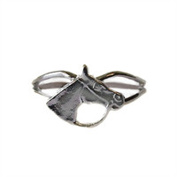 Silver Small Bridled Horse Head Adjustable Ring from Finishing Touch