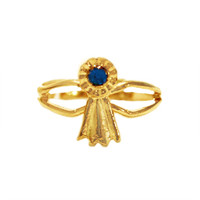 Gold Blue Ribbon Adjustable Ring from Finishing Touch