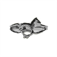 Silver Running Pony Adjustable Ring from Finishing Touch