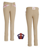 Equine Couture Bindia Jodhpurs, White with Pink, Size 14 Only