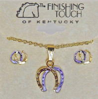 Lavender and Gold Double Horseshoe Gift Set
