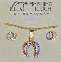 Lavender and Gold Double Horseshoe Gift Set