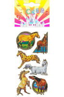 Rainbow Metallic Horse Stickers with Playing Ponies