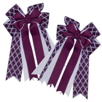 Dream Girl Bows, Plum with White