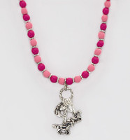 Pink Bead Charm Necklace