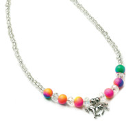 Neon Fimo Beaded Horse Charm Necklace