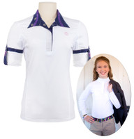 Kathryn Lily ProAir Long Sleeve Shirt, White/Denim & Purple, S & L Only