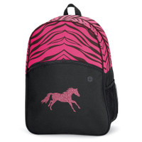 Lila Pink Zebra Backpack with Pink Glitter Horse