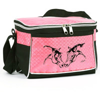 Lila Horse Heads Lunch Tote, Pink