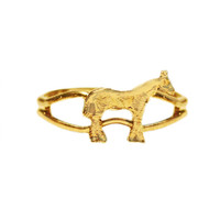 Gold Standing Pony Adjustable Ring from Finishing Touch