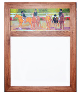 Wood Framed Dry Erase Board with Kids & Ponies