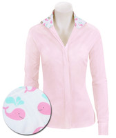 RJ Classics Prestige Prix Jr Shirt - Pink with Pink Whales, Sizes 4, 6 & 8 Only