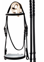 Bobby's Dressage Bridle with White Padded Noseband & Browband