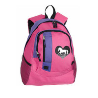 'Lila' Backpack, Horse and Heart, Pink with Purple