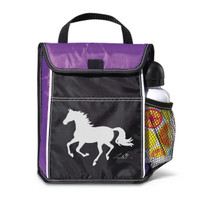 'Lila' Lunch Sack with Running Horse, Purple/ Black