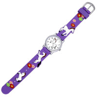 Kids Watch with 3D Band, Purple  with White Horses