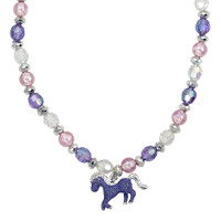 Horse Stretch Glitter Necklace, Pink & Purple