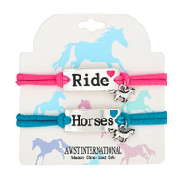 'Ride' & 'Horses' Stretch Bracelets with Charm, Set of 2