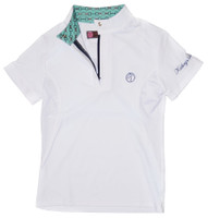 Kathryn Lily ProAir Polo Competition Shirt, White/Mint Bit
