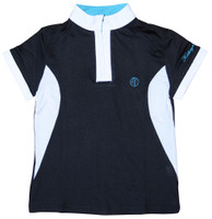 Kathryn Lily MeshAir Polo Competition Shirt, Black/White/Teal