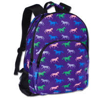 Horse Print Backpack, Purple